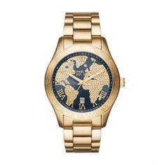 Michael Kors Armbanduhr – Layton Rhinestone Gold-Tone Grey Watch – in gold, grau – Armbanduhr für Damen