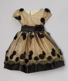 Take a look at this Gold & Black Rose Embroidered Dress - Infant, Toddler & Girls by Kid Fashion on #zulily today!