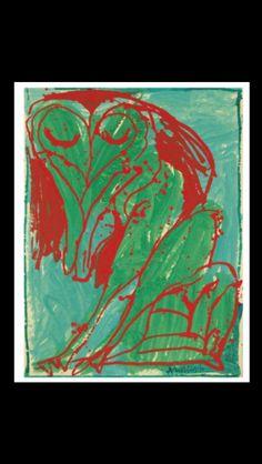 """Pierre Alechinsky - """" Chien électrique """", N.Y. 1968 - Acrylic on paper laid down on canvas - 151 x 114 cm (*)"""