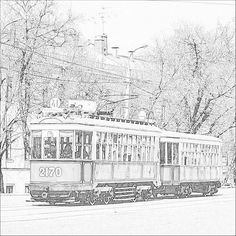 Old tram in Moscow