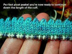 I love the way a picot edge adds interest to socks knitted with self striping or self patterning yarn. This is my first attempt at a tutor. Knitting Help, Knitting Stiches, Knitting Videos, Knitting Socks, Crochet Stitches, Knit Or Crochet, Crochet Crafts, Yarn Crafts, Sewing Crafts