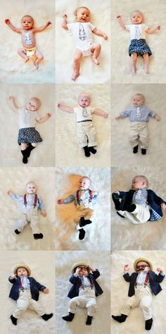 """Great monthly photo collage for baby.  They added one element of the """"outfit"""" each month using the necktie with month #."""