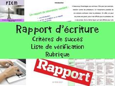 "Boost your students' writing skills!... and teach them how to write ""Un rapport d'écriture""! Ready to print and USE as an TEACHING PACKAGE and as an ASSESSMENT TOOL as you receive a full rubric to meet the 4 categories of the achievement chart in this resource! Writing Skills, Graphic Organizers, Assessment, Students, Meet, Amp, Chart, Organization, French"