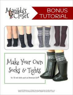Matilda's Closet Basic Side-Zip Boots Doll Clothes Pattern 18 inch American Girl Dolls | Pixie Faire