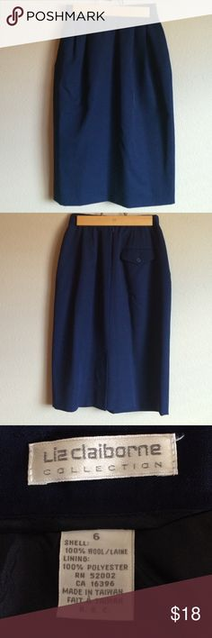 Liz Claiborne 100% Wool Navy Blue Skirt Size 6 Perfect for your work wardrobe. Fully lined, belt loops, back zipper closure, pleated front, one button closure pocket on back. Dry Clean Only Liz Claiborne Skirts Pencil