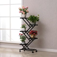 Online Shop pergola With wheels Standing flower pot rack shelf for living room of balcony Metal Plant Stand, Wooden Plant Stands, Diy Plant Stand, Garden Plant Stand, Iron Furniture, Home Decor Furniture, Garden Furniture, Indoor Balcony, Indoor Plants