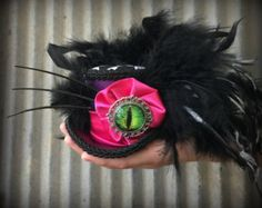 Micro Mini Top hat, Cheshire Cat Hat, Dragon Eye Hat, Alice in Wonderland, Mad hatter Hat, Tea party mini top hat, Mad Tea Party, STeampunk