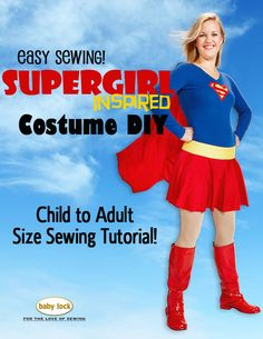 Baby Lock's 2015 Halloween Free Patterns and Templates - Supergirl-inspired costume tutorial! By Stephanie Struckmann