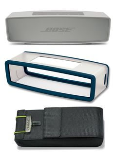 Bose SoundLink Mini II Pearl Bluetooth Speaker Bundle with Navy Blue Cover and Travel Bag. This bundle contains 3 products: (1) Bose SoundLink Mini Bluetooth Wireless Speaker II Pearl, (1) Bose SoundLink Mini silicone bumper cover in the color Navy Blue and (1) Bose SoundLink Mini Travel Bag.