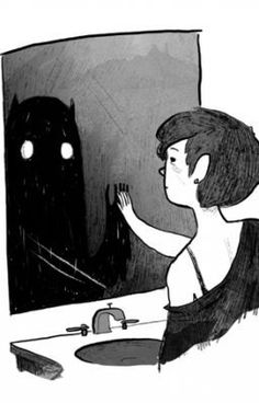 Kal (Karin Adelaide Laraine) 'Namara, gingerhaze: the monster has always been you Art And Illustration, Dark Art Illustrations, Dark Art Drawings, Art Drawings Sketches, Arte Inspo, Vent Art, Arte Obscura, Arte Sketchbook, Sad Art