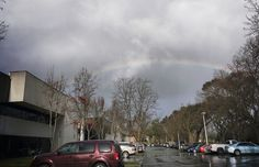 On gray days, always look for the rainbow! 🌈  Photo of a rainbow over our bakery in Petaluma, CA by Chrisie Hubbard.