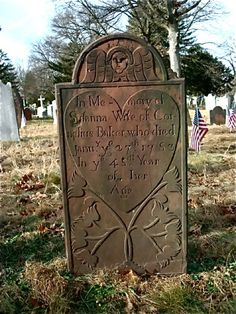 Susanna Baker died 1783,Rahway,New Jersey:Photo by The Bishop (Beautiful heart design on stone,Dutch design with tulips)