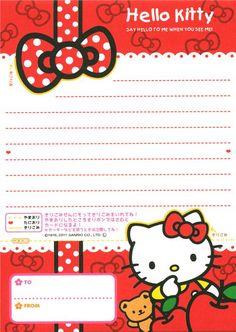 kawaii Memo Pad Hello Kitty with apple & text 3