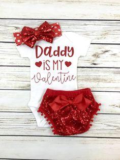 Daddy is my valentine baby girl onesie first Valentine's Day outfit - March 09 2019 at Baby Outfits, Valentinstags Outfits, Kids Outfits, Toddler Outfits, My Baby Girl, Baby Kind, Baby Love, Baby Girls, Baby Girl Onesie