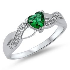 0.74 Carat Heart Shape Emerald Green Round Russian ice Diamond CZ CrissCross Infinity Band 925 Sterling Silver Promise Ring Love Gift
