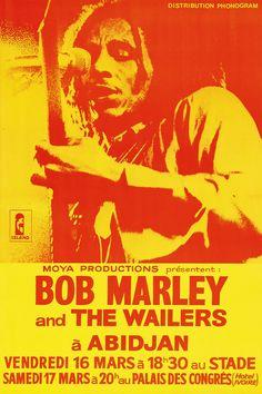 Bob Marley And The Wailers - Ivory Coast - 1979 - Concert Poster Rock Concert, Reggae Music, Bob Marley Concert, Image Bob Marley, Rock Posters, Band Posters, Vintage Concert Posters, Vintage Posters, Concert Posters
