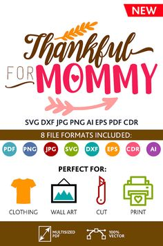 Thankful For Mommy SVG Cut Files Wall Art Quote Printable Art Decor room Art Printable Poster digital (Svg Dxf Cdr Eps Ai Jpg Pdf Png)