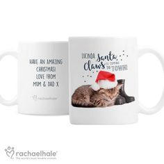 Personalised Christmas Cat Mug - Rachael Hale Santa Claws Personalized Christmas Mugs, Santa Claws, Cat Mug, Christmas Cats, Animals, Animales, Animaux, Animal, Animais