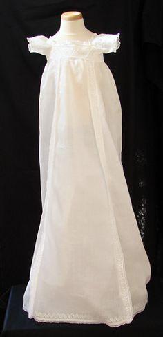 Maria Niforos - Fine Antique Lace, Linens & Textiles : Antique Christening Gowns & Children's Items # CI-89 Circa 1800, Fine Empire Whitework Christening Gown