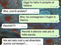 Oggi ho fatto il compito Funny Chat, Funny Jokes, Funny Images, Funny Photos, Italian Memes, Serious Quotes, Funny Scenes, Bff Quotes, Funny Messages