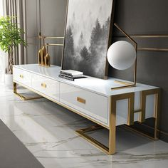 Jocise White/Black Inch TV Stand Media Stand with Gold Frame & Tempered Glass Top, tv cabinet design, Gold Tv Stand, White Tv Stands, Black Tv Stand, Cool Tv Stands, Luxury Furniture, Furniture Design, Gold Furniture, Furniture Decor, Tv Stand With Drawers