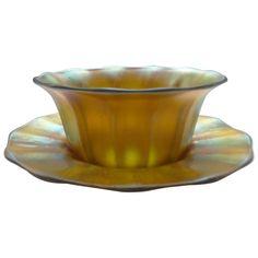 Steuben Carder Gold AURENE Art Glass Finger Bowl & Plate Steuben Glass, Glass Design, Glass Art, Tea Cups, Plates, Antiques, Stew, Tableware, Finger