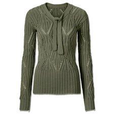 Modell 059/5, Ajourmuster Pullover mit Schleife aus Merino-Cotton von Junghans-Wolle