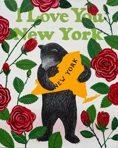 Our I Love You New York Print celebrates the Empire State with its official flower, the rose. Designed by Annie Galvin at 3 Fish Studios in San Francisco, California, and printed on-site in the Outer Sunset with 8-color UltraChrome K3™ inks on 300gsm Hot Press Bright paper. Archival, highest possible quality.