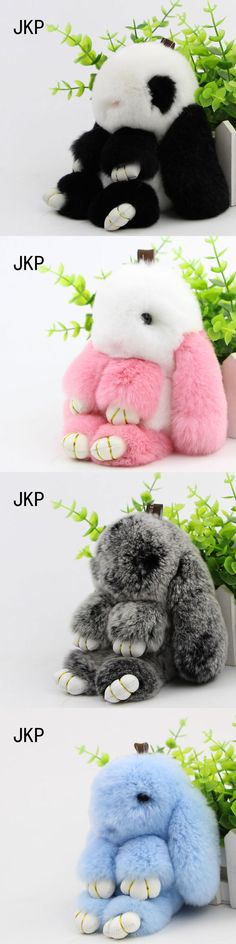 New 100% Rex Rabbit Fur keychain Cute Rabbit Doll Key Chain Pendant Wallet fur Pom Pom Car Pendant Bag Key ring Bunny Keychain