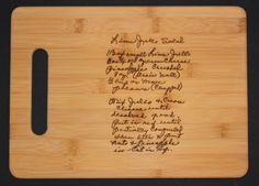 Recipe scanned from Mom's or Grandma's handwriting - Bamboo Cutting Board with Laser Engraved Recipe - Personalized  13 x 9.5 by 3DCarving on Etsy https://www.etsy.com/listing/100147179/recipe-scanned-from-moms-or-grandmas