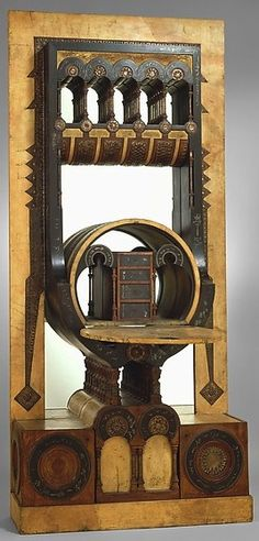 Secretary, Carlo Bugatti, Italian, c. 1895, walnut, tin, copper, vellum, and mirror, 88 H, 39-1/2 W, 12-1/4 D inches