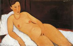 Amedeo Modigliani Nude with Coral Necklace 1917 x cm Oil on canvas Allen Memorial Art Museum, Oberlin College, Ohio Gift of Joseph and Enid Bissett Amedeo Modigliani, Gustav Klimt, Toulouse, Chaim Soutine, Portraits, Italian Painters, Chef D Oeuvre, Thing 1, Canvas Prints