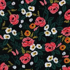 Rifle Paper Co - Wonderland Rayon - Paint Roses Rayon in Black