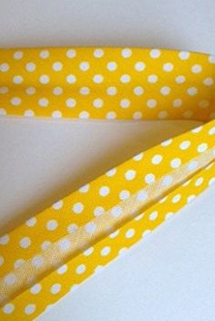 Golden Yellow Polka Dot 18mm Bias Binding by Fany on a 3m Length (N.B. this is a cut from a roll)