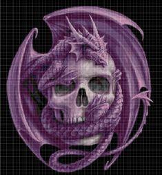 Skull and dragon cross stitch pattern in pdf DMC