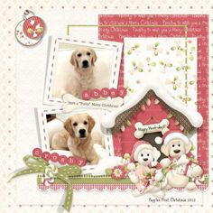 Christmas doghouse layout with our Christmas dogs. NBK - Season's Grrreetings Collection from Nitwit Collections