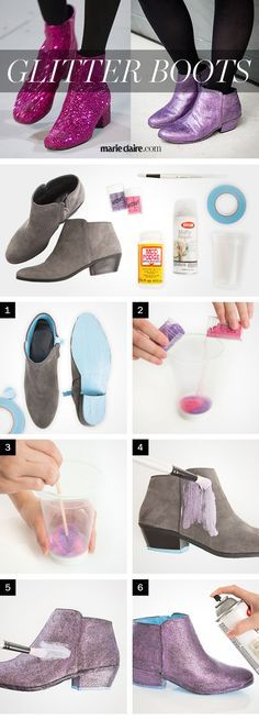 DIY Saint Laurent Glitter Boots - How to Make Glittery Shoes - Marie Claire