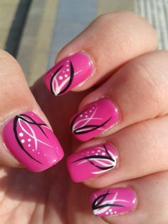 My pink mani - Gel nägel - Funky Nail Art, Funky Nails, Cute Nails, Pretty Nails, Black Nail Designs, Beautiful Nail Designs, Cool Nail Designs, Gel Nagel Design, Nail Art Studio