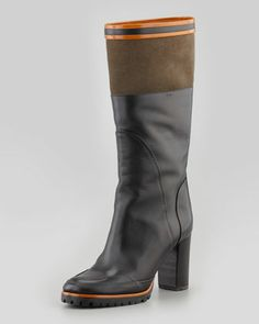 Sporty+Mid-Calf+Boot,+Black/Olive/Orange+by+Chloe+at+Neiman+Marcus. Calves, Me Too Shoes, Orange, Mid Calf Boots, Stylish, Handbags, Black Boots, Clothes, Neiman Marcus