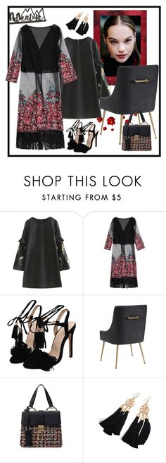 """""""Embroidered Open Front Long Duster Coat"""" by carola-corana ❤ liked on Polyvore"""