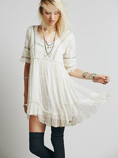 boho-Free People Little Dot Mini Dress at Free People Clothing Boutique Beauty And Fashion, Passion For Fashion, Boho Fashion, Autumn Fashion, Bohemian Mode, Bohemian Style, Boho Chic, Hippie Style, My Style