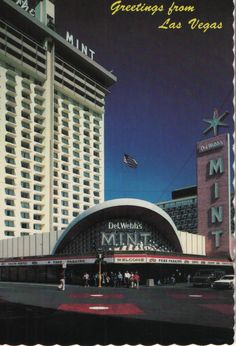 Old Las Vegas postcard - Del Webb's Mint Hotel & Casino on Fremont Street.  Hagins collection.
