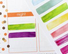 Watercolor Strip Stickers for Erin Condren Planner, Filofax, Plum Paper
