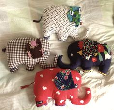 Elephants made of vintage fabric.