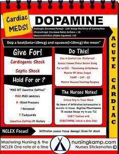 Dopamine & Dobutamine -Given For Cardiogenic Shock and Septic Shock After Fluid Satus is evaluated- Acute Cardiac Cardiac Medications Dopamine Adenosine Atropine Amiodarone NCLEX BUN Creatinine Acute Renal Failue Labs Potassium Hyperkalemia Hypokalemia Hyponatremia Sodium Lab Value Hyponatremia Mnemonic Nursing Student normals and abnormal Na K Cr Hypomagnesemia BUN Creatinine Addisons Dehydration Study Sheets for Nurses NCLEX Tips Nursing Notes Cheats cardiac tamponade nursing mnemonic