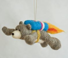 Needle Felted Super Bear  Flying with Jet Pack by scratchcraft