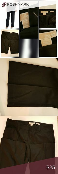 """Michael Kors Gramercy Fit Black Dress Slacks s Michael Kors Gramercy Fit Black Dress Pants Very stylish Michael Kors Black slacks. The quality and style of Michael Kors at an affordable price. Missing button as seen on photo #4 Inseam 32"""" Michael Kors Pants Boot Cut & Flare"""