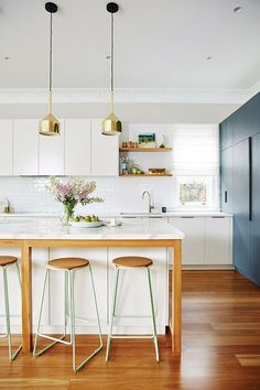 This Is the Simplest (and the Cheapest) Way to Open Up a Small Space | MyDomaine - Kitchen Color Scheme