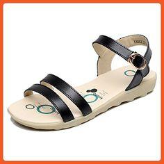 Keplia Womens Cool Lightweight Flat Sandals Ankle Strap Sandles Black 7.5 D(M) US - Sandals for women (*Amazon Partner-Link)