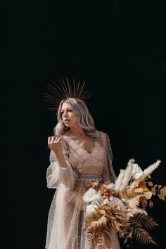 Gold halo crown and a blush pink tulle dress. Pampas grass and fern bridal bouquet. Sparkly Wedding Gowns, Sparkly Gown, Wedding Dresses, Wedding Looks, Bridal Looks, Dream Wedding, Dress Shapes, Bridal Crown, Industrial Wedding